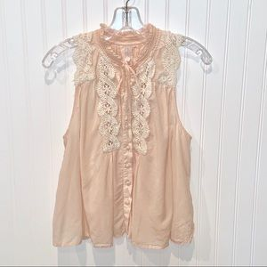 Free People Pink Babydoll Crop Lace Top Blouse S